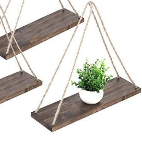 Dark Chocolate Rope Shelf Boho Decor